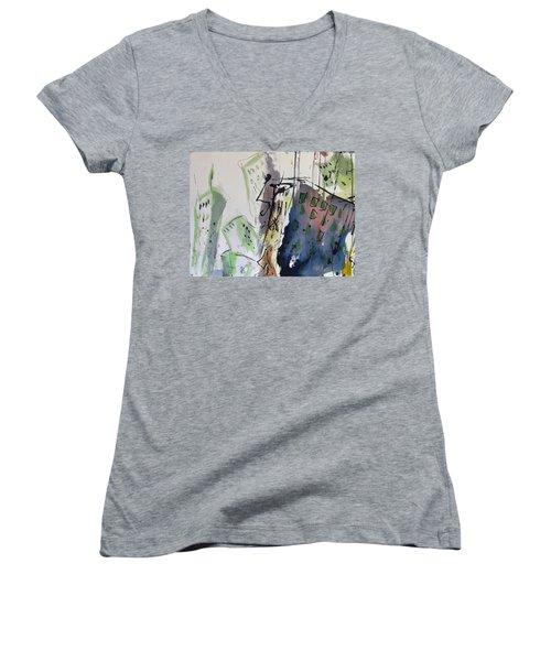 Women's V-Neck T-Shirt (Junior Cut) featuring the painting Uptown by Robert Joyner