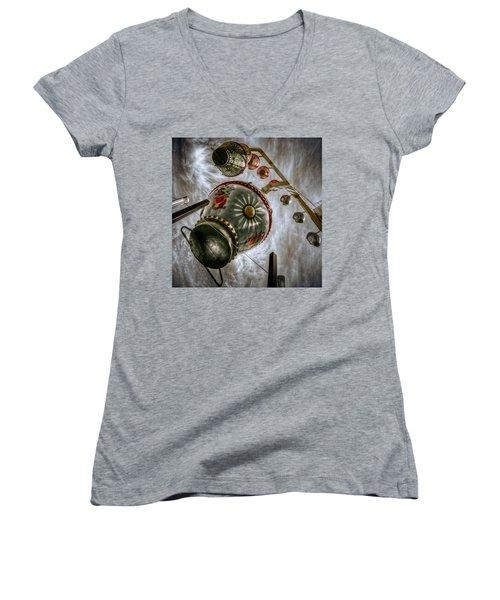 Upwardly Mobile Women's V-Neck T-Shirt (Junior Cut) by Wayne Sherriff