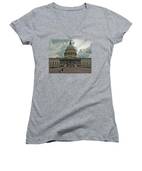 Women's V-Neck T-Shirt (Junior Cut) featuring the photograph U.s. Capitol Building by Suzanne Stout