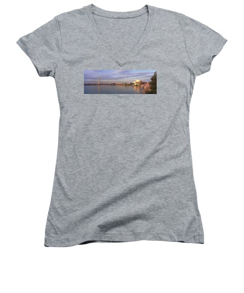 Usa, Washington Dc, Tidal Basin, Spring Women's V-Neck T-Shirt (Junior Cut) by Panoramic Images