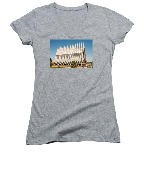 Women's V-Neck T-Shirt (Junior Cut) featuring the photograph Air Force Academy Chapel by Sue Smith