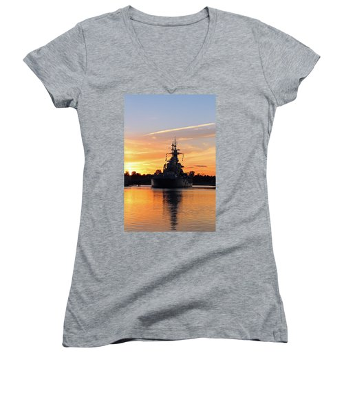 Women's V-Neck T-Shirt (Junior Cut) featuring the photograph Uss Battleship by Cynthia Guinn