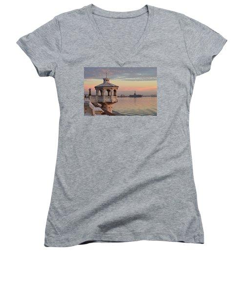 Uss Lexington At Sunrise Women's V-Neck T-Shirt (Junior Cut) by Leticia Latocki