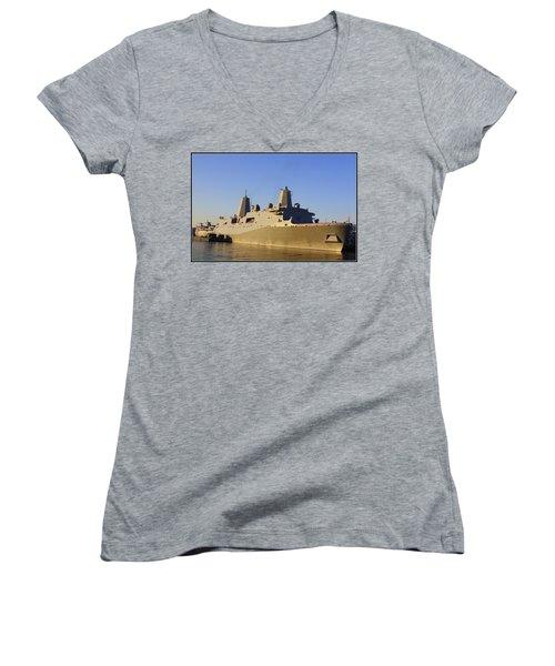 Uss New York - Lpd21 Women's V-Neck T-Shirt (Junior Cut) by Dora Sofia Caputo Photographic Art and Design