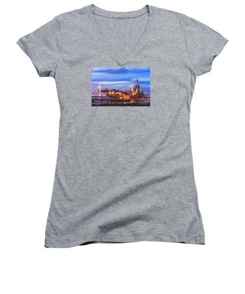 Uss Yorktown Museum Women's V-Neck T-Shirt (Junior Cut) by Jerry Fornarotto
