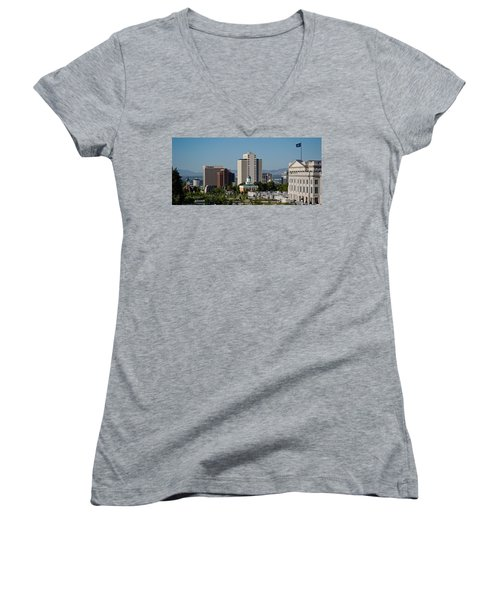 Utah State Capitol Building, Salt Lake Women's V-Neck T-Shirt (Junior Cut) by Panoramic Images