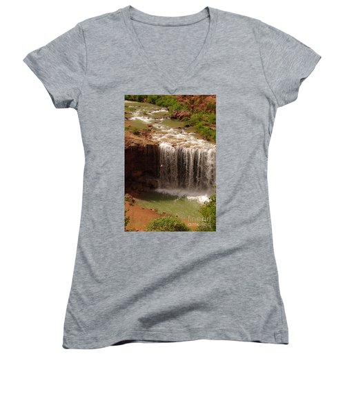 Vacation At Lower Navajo Falls Women's V-Neck (Athletic Fit)
