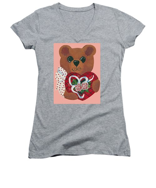 Women's V-Neck T-Shirt (Junior Cut) featuring the painting Valentine Hug by Barbara McDevitt