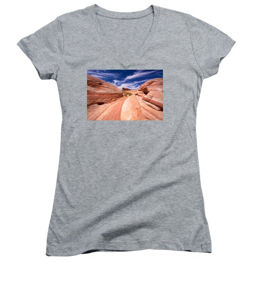 Valley Of Fire 2 Women's V-Neck (Athletic Fit)