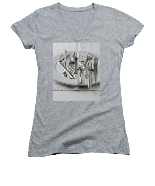 Various Forks On A Plate Women's V-Neck