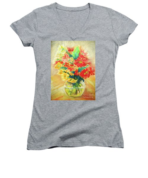 Women's V-Neck T-Shirt (Junior Cut) featuring the painting Vase by Jasna Dragun