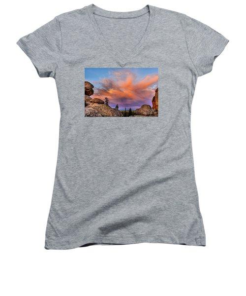 Vedauwoo Sunrise Women's V-Neck T-Shirt (Junior Cut) by Steven Reed