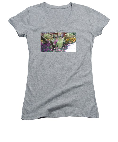 Women's V-Neck T-Shirt (Junior Cut) featuring the photograph Vegas Butterfly Garden Flowers Cactus Romanti Interior Decorations by Navin Joshi