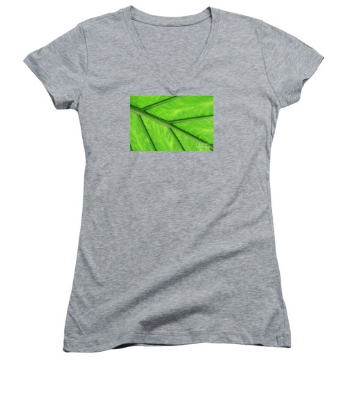 Women's V-Neck T-Shirt (Junior Cut) featuring the photograph Veins Of Life by Judy Whitton