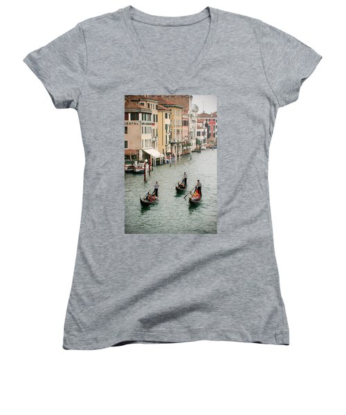 Women's V-Neck T-Shirt (Junior Cut) featuring the photograph Venice by Silvia Bruno