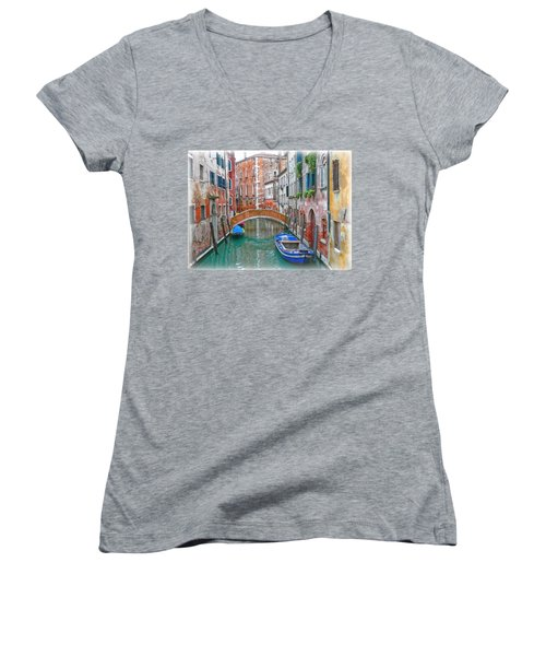 Women's V-Neck T-Shirt (Junior Cut) featuring the photograph Venetian Idyll by Hanny Heim