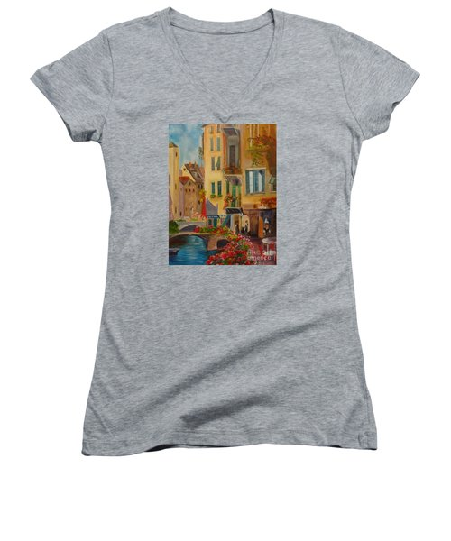 Venic Canal 1 Women's V-Neck T-Shirt (Junior Cut) by Jenny Lee