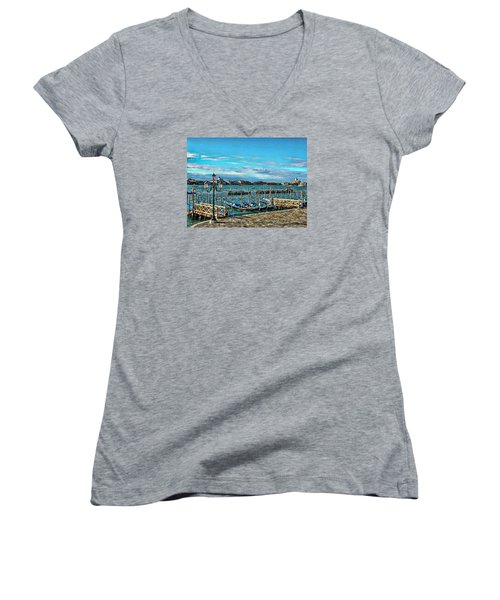 Women's V-Neck T-Shirt (Junior Cut) featuring the photograph Venice Gondolas On The Grand Canal by Kathy Churchman