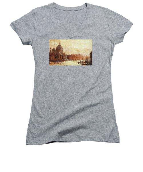 Venice - Santa Maria Della Salute Women's V-Neck T-Shirt (Junior Cut) by Irek Szelag