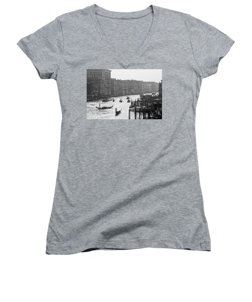Venice Grand Canal Women's V-Neck T-Shirt (Junior Cut) by Silvia Bruno