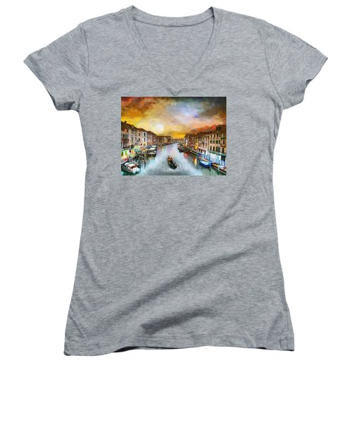 Sunrise In The Beautiful Charming Venice Women's V-Neck T-Shirt (Junior Cut) by Georgi Dimitrov