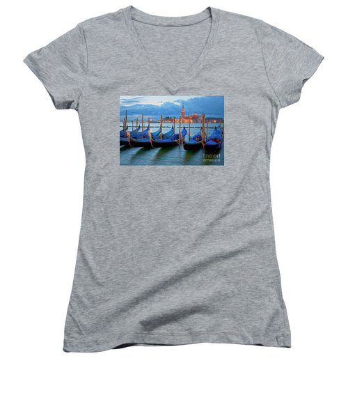 Women's V-Neck featuring the photograph Venice View To San Giorgio Maggiore by Heiko Koehrer-Wagner