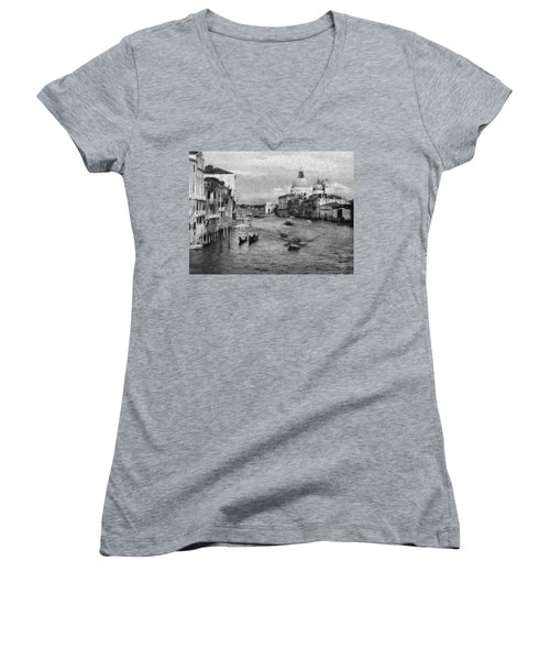 Vintage Venice Black And White Women's V-Neck T-Shirt (Junior Cut) by Georgi Dimitrov