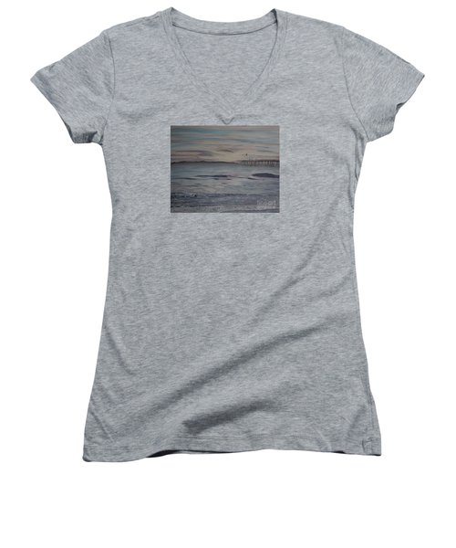 Ventura Pier High Surf Women's V-Neck T-Shirt (Junior Cut) by Ian Donley