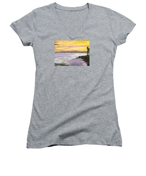 Ventura Point At Sunset Women's V-Neck T-Shirt (Junior Cut) by Ian Donley