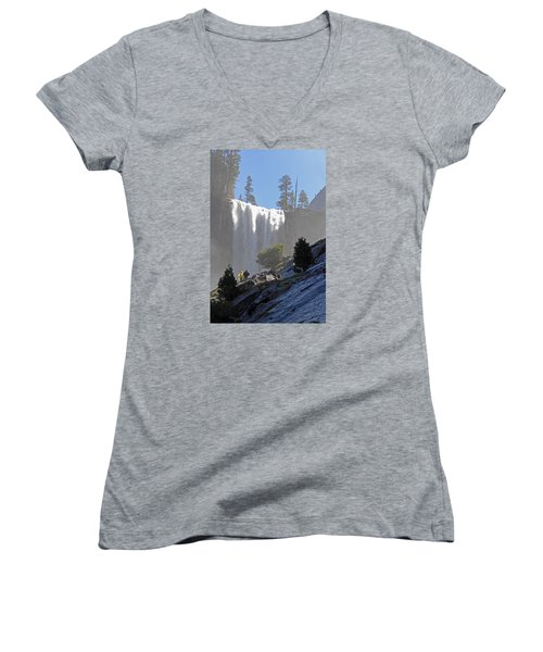 Women's V-Neck T-Shirt (Junior Cut) featuring the photograph Vernal Falls Mist Trail by Duncan Selby
