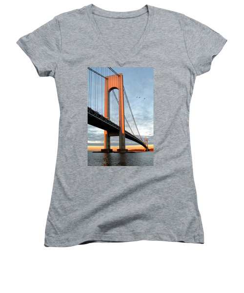 Verrazano Bridge At Sunrise - Verrazano Narrows Women's V-Neck (Athletic Fit)