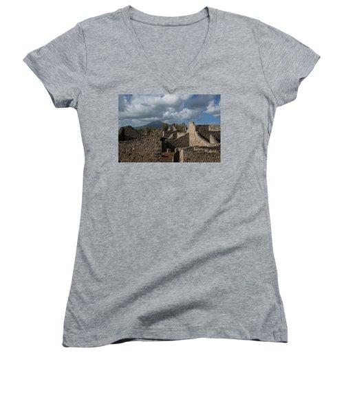 Vesuvius Towering Over The Pompeii Ruins Women's V-Neck