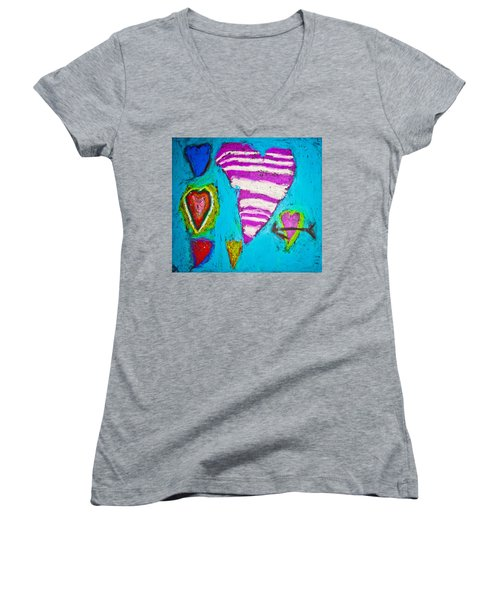 Women's V-Neck T-Shirt (Junior Cut) featuring the photograph Vibrant Love by Sara Frank