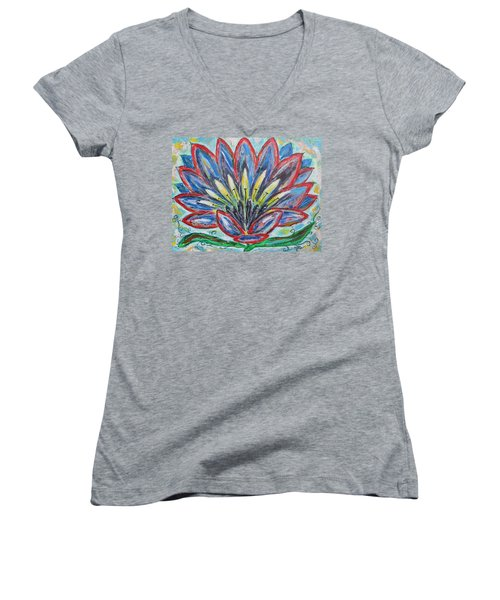 Women's V-Neck T-Shirt (Junior Cut) featuring the painting Hawaiian Blossom by Diane Pape