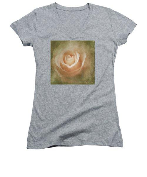 Victorian Vintage Pink Rose Women's V-Neck T-Shirt