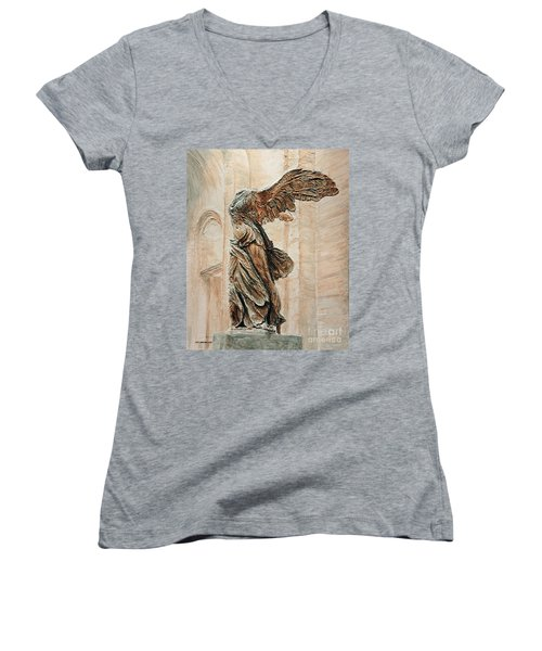 Victory Of Samothrace Women's V-Neck T-Shirt (Junior Cut) by Joey Agbayani