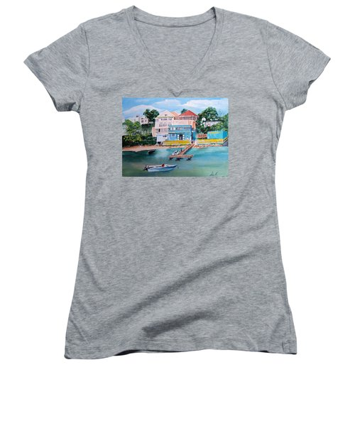 Vieques Puerto Rico Women's V-Neck T-Shirt (Junior Cut) by Luis F Rodriguez