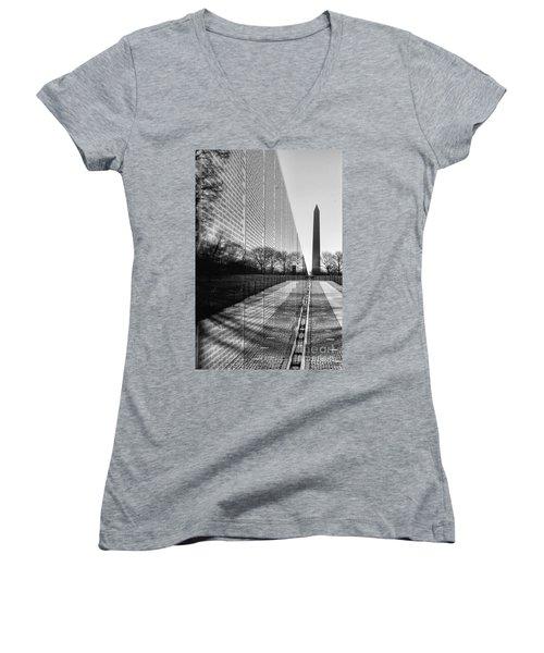 Women's V-Neck T-Shirt (Junior Cut) featuring the photograph Vietnam War Memorial Washington Dc by John S