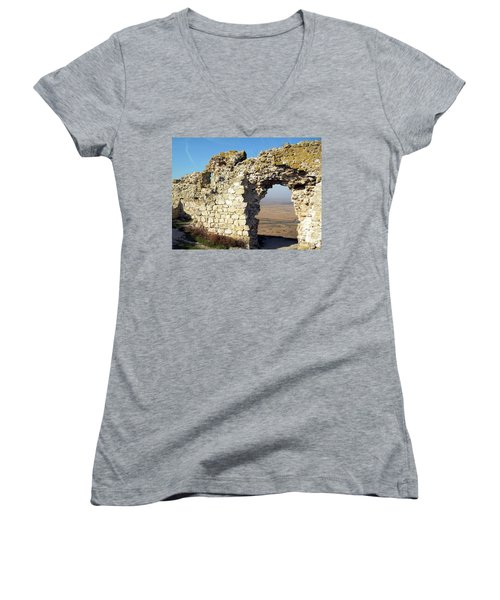 Women's V-Neck T-Shirt (Junior Cut) featuring the photograph View From Enisala Fortress 2 by Manuela Constantin