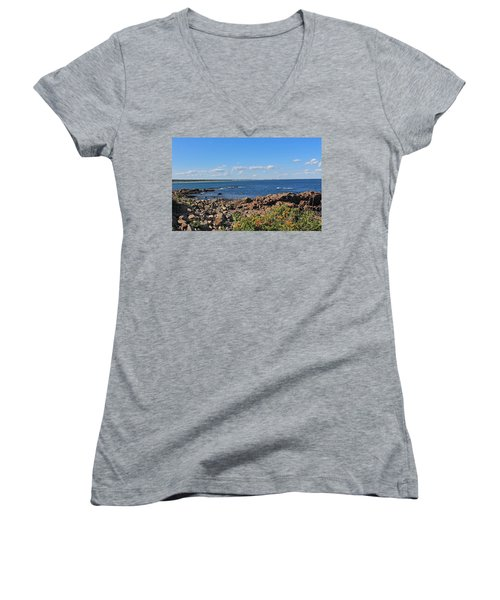 View From Marginal Way Ogunquit Maine 3 Women's V-Neck (Athletic Fit)