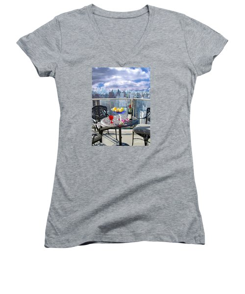 View From The Terrace Women's V-Neck T-Shirt (Junior Cut) by Madeline Ellis