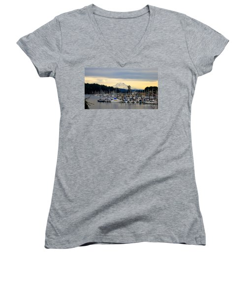 View Of Mt. Rainier From Gig Harbor Wa Women's V-Neck T-Shirt
