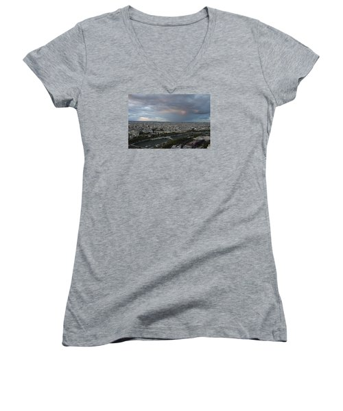 Women's V-Neck T-Shirt (Junior Cut) featuring the photograph View Of Paris by Ivete Basso Photography