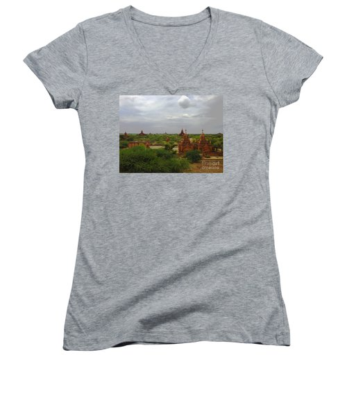 Women's V-Neck T-Shirt (Junior Cut) featuring the photograph View Of Smaller Temples Next To Dhammayazika Pagoda Built In 1196 By King Narapatisithu Bagan Burma by Ralph A  Ledergerber-Photography