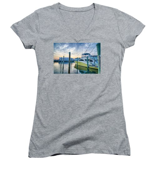 View Of Sportfishing Boats At Marina Women's V-Neck T-Shirt