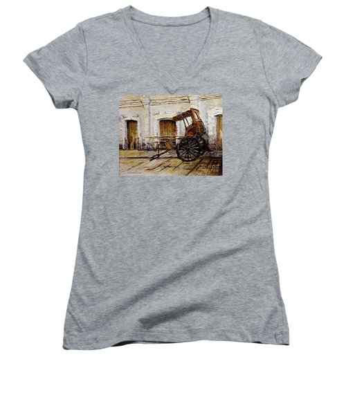 Vigan Carriage 1 Women's V-Neck T-Shirt (Junior Cut) by Joey Agbayani