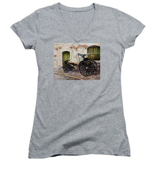 Women's V-Neck T-Shirt (Junior Cut) featuring the painting Vigan Carriage 2 by Joey Agbayani