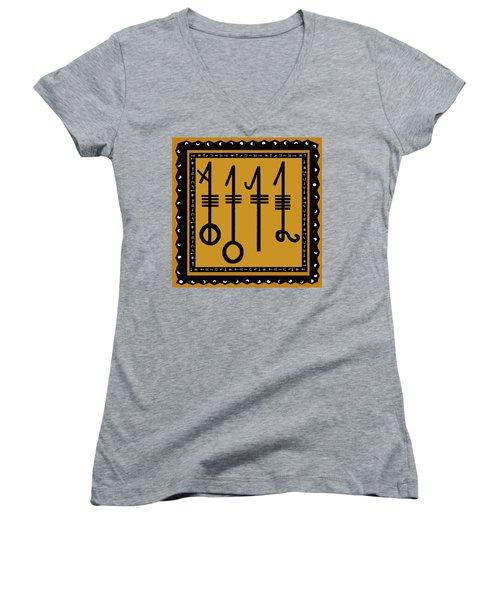 Women's V-Neck T-Shirt (Junior Cut) featuring the digital art Viking Sleepthorn Spell by Vagabond Folk Art - Virginia Vivier