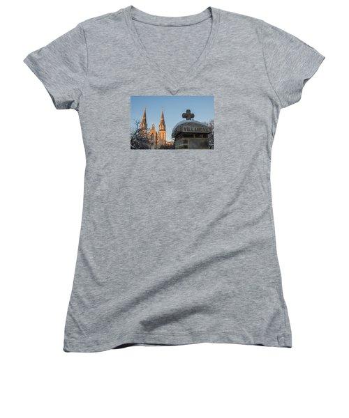Villanova Wall And Chapel Women's V-Neck T-Shirt (Junior Cut) by Photographic Arts And Design Studio