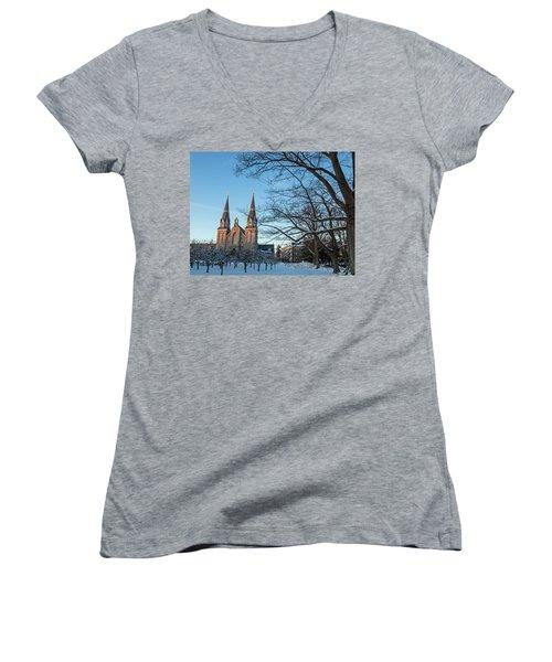 Villanova Winter Saint Thomas Women's V-Neck T-Shirt (Junior Cut) by Photographic Arts And Design Studio